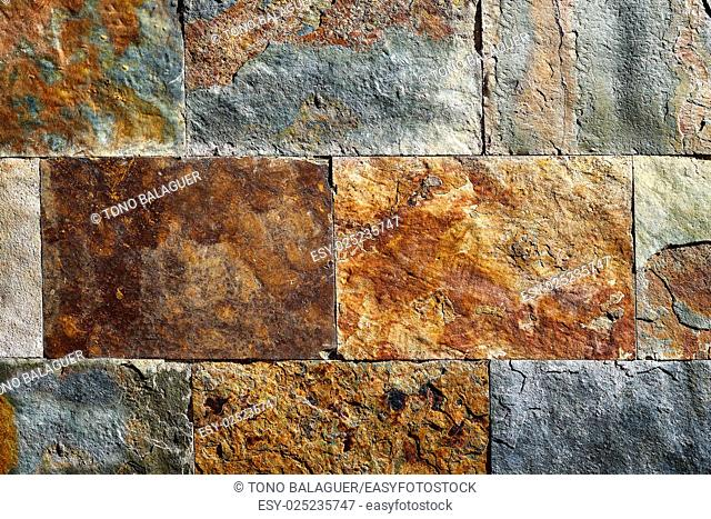 Slate stone colorful texture tiles with red rusted yellow and green blue tones