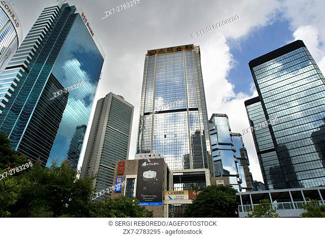Financial centre of Hong Kong with his moderm skyscrapers. Central Business District, Hong Kong, China