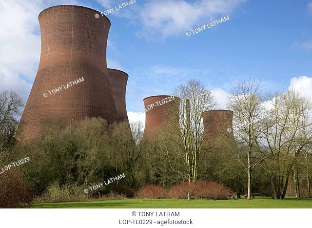 England, Shropshire, Ironbridge, The cooling towers of Ironbridge Power Station from the River Severn