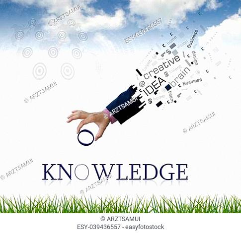 "art work of business hand with the """" knowledge """" word with nature background"