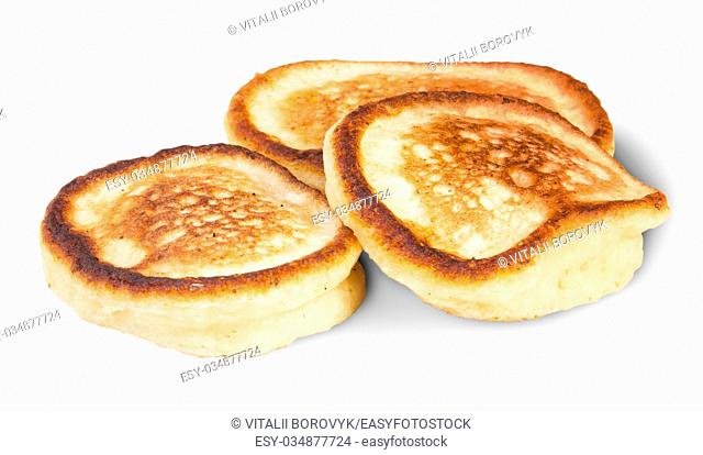 Three Sweet Pancakes Isolated On White Background