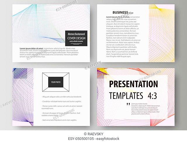 Set of business templates for presentation slides. Easy editable abstract vector layouts in flat design. Colorful decoration with waves forming abstract...