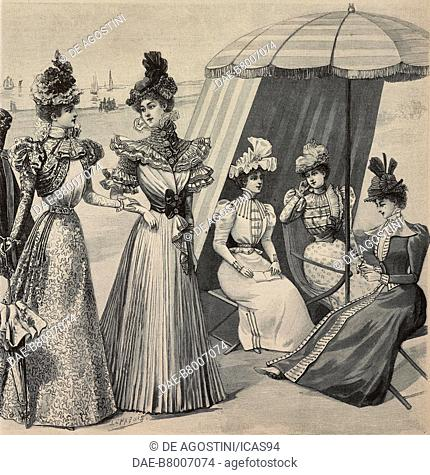 Women wearing walking clothes decorated with bows and hats with decorations, Coussine-Piret design, engraving from La Mode Illustree, No 25, June 20, 1897