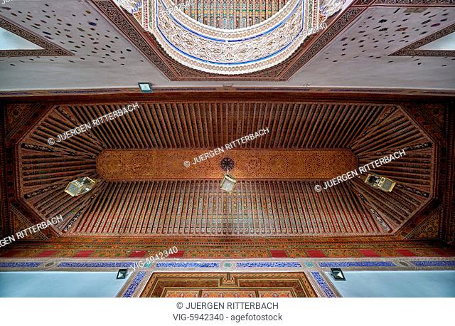 MOROCCO, MARRAKESH, 16.05.2016, strong decorated ceiling in Bahia Palace, Marrakesh, Morocco, Africa - Marrakesh, Morocco, 16/05/2016