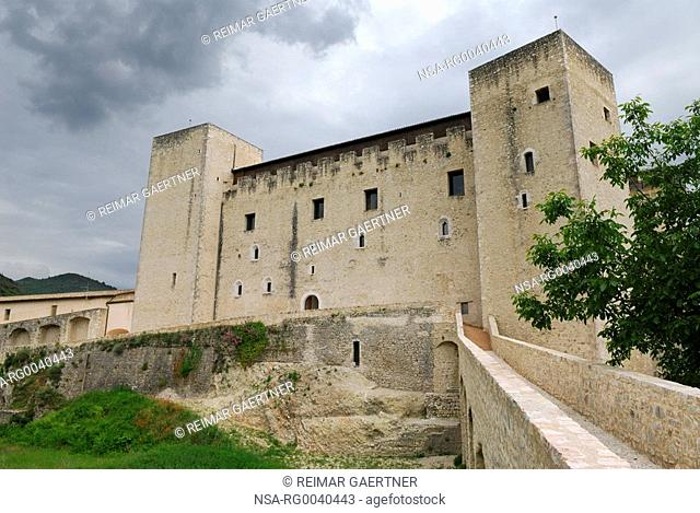 Walls and tower of medieval La Rocca Papal fortress in Spoleto Italy