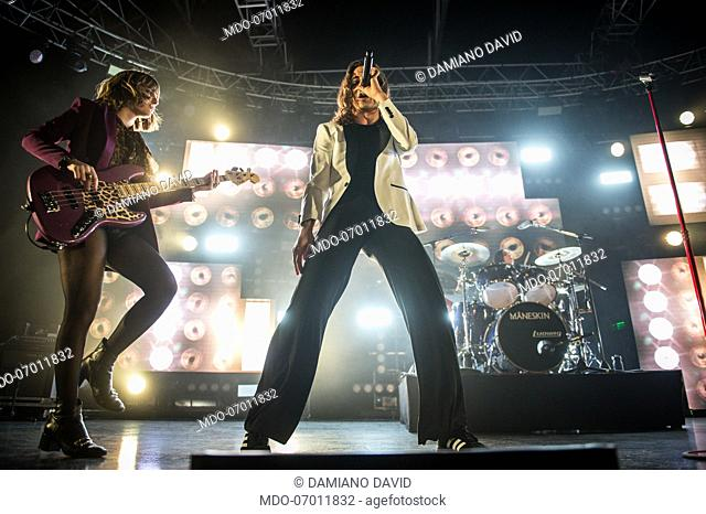 Italian band Maneskin performs live on stage at Fabrique Milano. Milan (Italy), March 24th, 2019