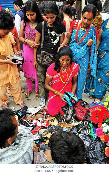 On the day of Teej festival there were many shops on the street near Pachali Bhairab temple
