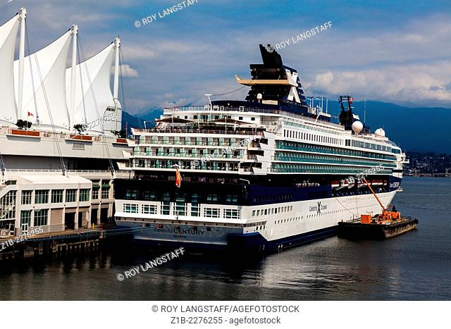 Cruise ship docked in Vancouver's cruise ship terminal, British Columbia, Canada