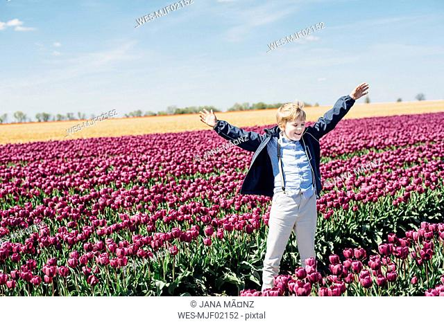 Smiling boy standing on tulip field