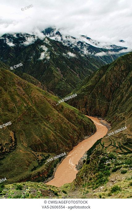 The view of Lancang river valley in Tibet