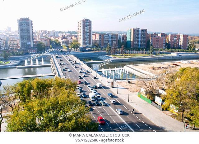 Segovia bridge, aerial view. Madrid, Spain