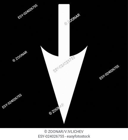 Sharp Down Arrow flat white color icon