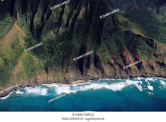 na pali coast, aerial view, Kauai Island, Hawaii, USA, United States, America