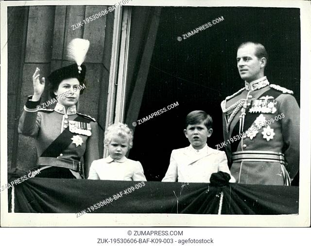 Jun. 06, 1953 - TROOPING THE COLOUR CEREMONY.. SALUTING FROM THE PALACE BALCONY. Queen Elizabeth II took the salute at the Trooping the Colour ceremony on Horse...