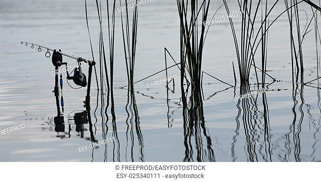 Fishing rod in the lake, waiting for the key, France