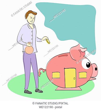 Businessman putting money into a piggy bank house