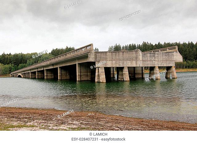 Unfinished highway bridges at the water reservoir Svihov.Construction of bridges was started at 1939 but at 1950 was by communist regime the construction of...