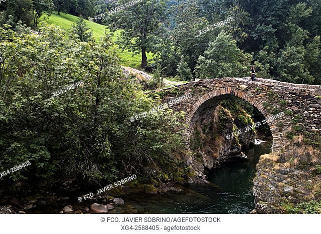 Puente románico sobre el río Noguera Pallaresa. Alós d'Isil. Alt Aneu. Pallars Sobirà. Lleida. Cataluña. España