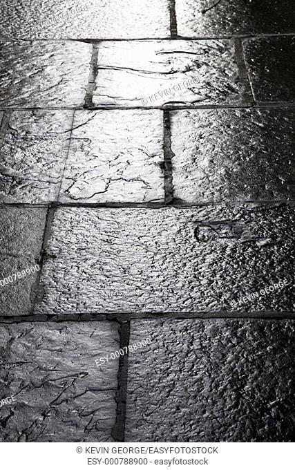 Wet Pavement on Street in Scotland