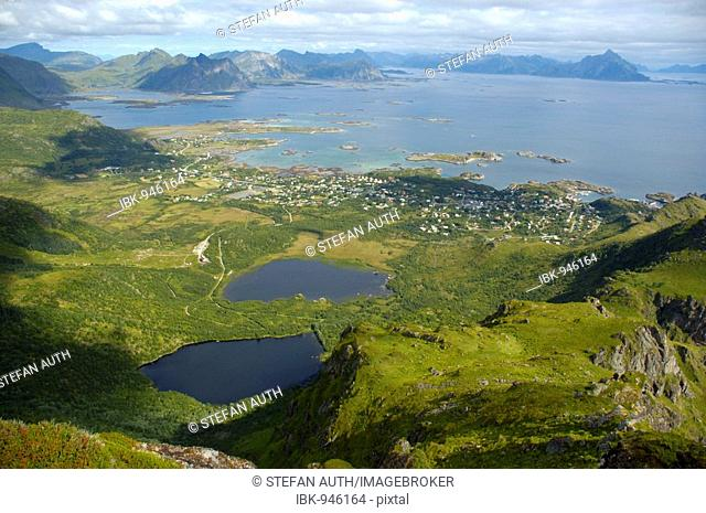 View from above onto Stamsund with two lakes and the surrounding landscape, Vestvagoya, Lofoten, Norway, Scandinavia, Europe