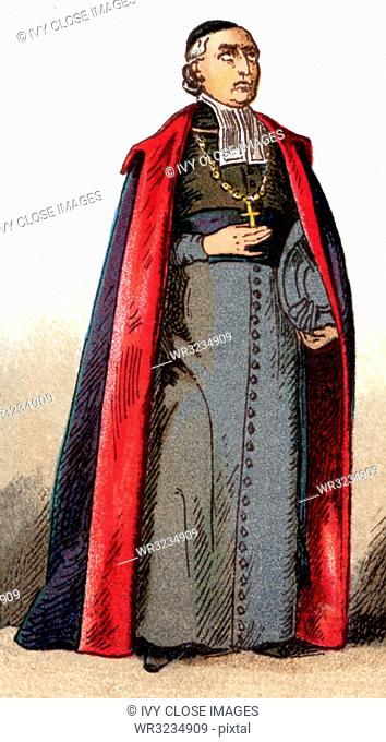 The illustration shown here depicts the ecclesiastical costume of a bishop in ordinary vestments. The illustration dates to 1882