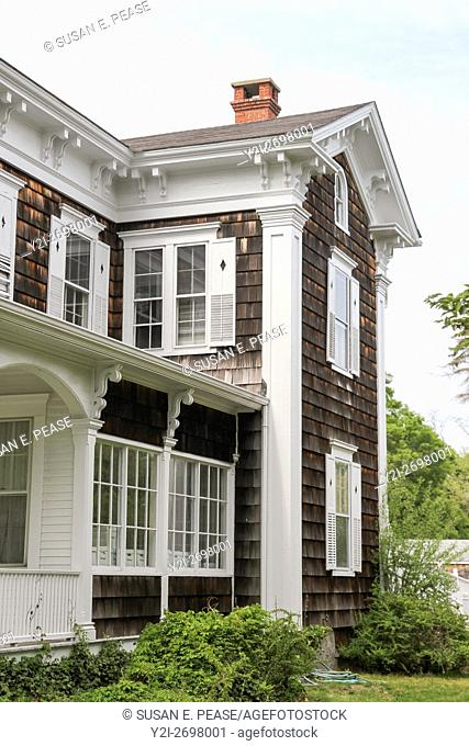 Detail of a building in Falmouth, Cape Cod, Massachusetts, United States, North America