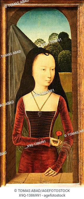 Young Woman with a Pink, ca  1485-90, Attributed to Hans Memling, Netherlandish, Oil on wood, Overall 17 x 7 3/8 in , 43 2 x 18 7 cm