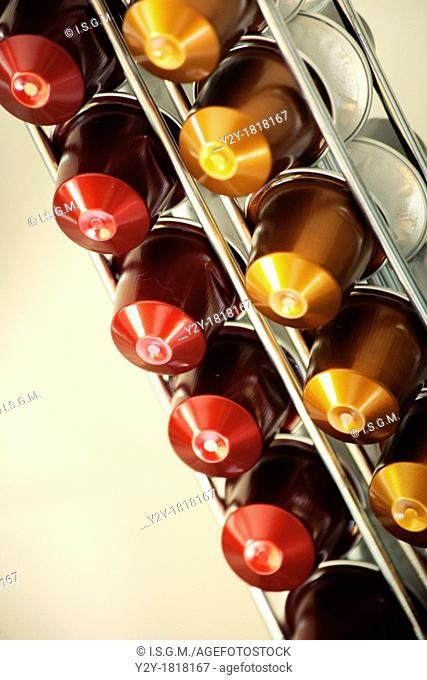 Red and gold coffee capsules
