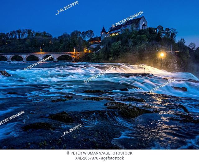 Rhine Falls with Laufen Castle, at Schaffhausen, Canton of Schaffhausen, Switzerland, Europe