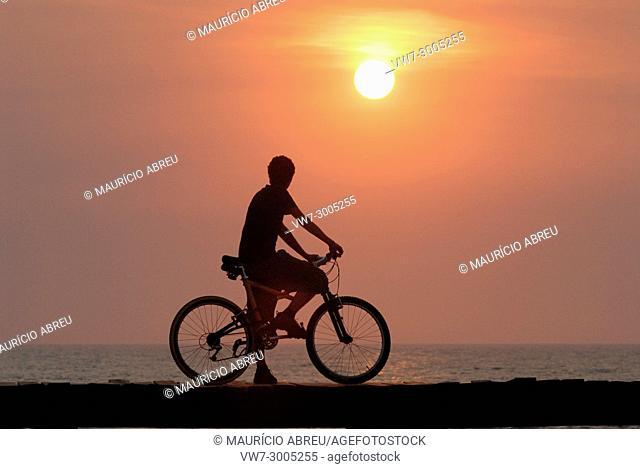 Sunset on the beach. Costa Nova, Portugal