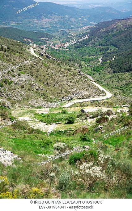 ancient roman road at Gredos mountains in Avila Spain