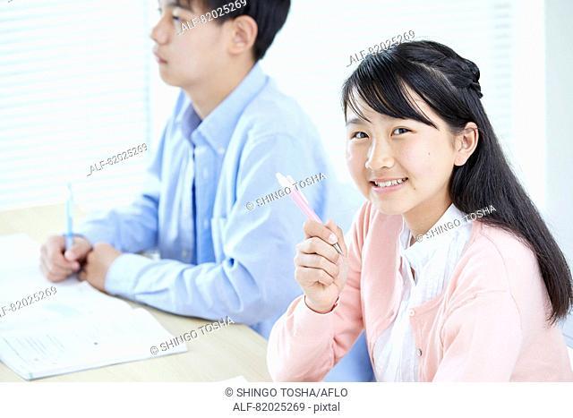 Japanese kids studying