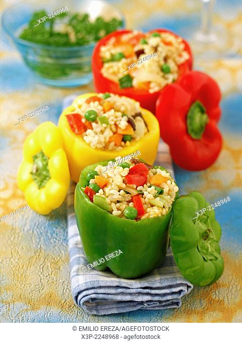 Stuffed peppers with rice and vegetables