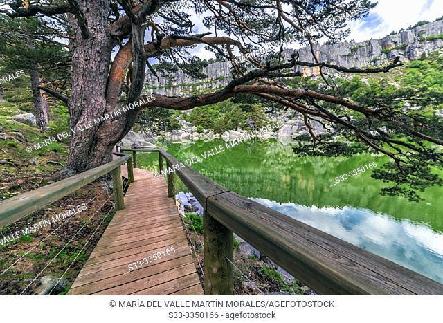 Footbridge in the Black Lagoon. Soria. Spain. Europe