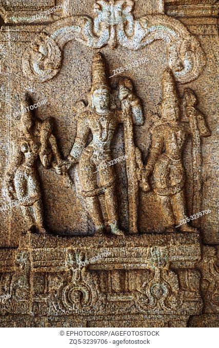 Sculpture of Lord Rama, Lakshman and Sita at the Vittala Temple, Hampi, Karnataka, India