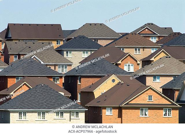 Subdivision rooftops in Newmarket, Ontario, Canada