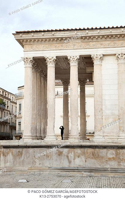 Nimes, Gard Department, Languedoc-Roussillon, France. The first century BC Roman temple known as Maison Carree