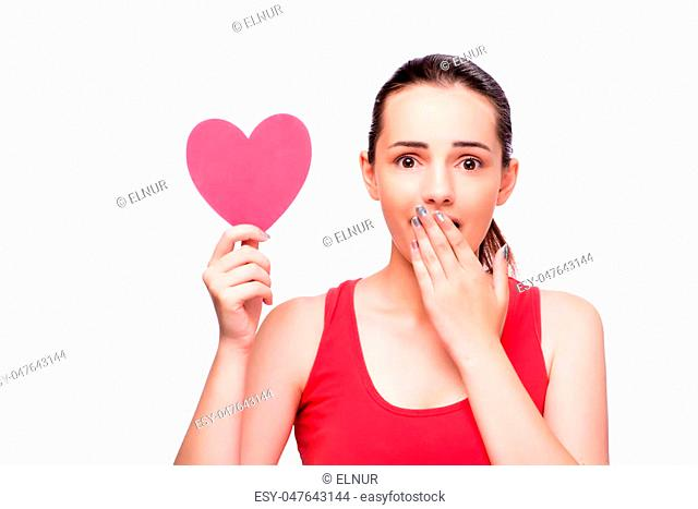 Young woman with heart shaped isolated on white