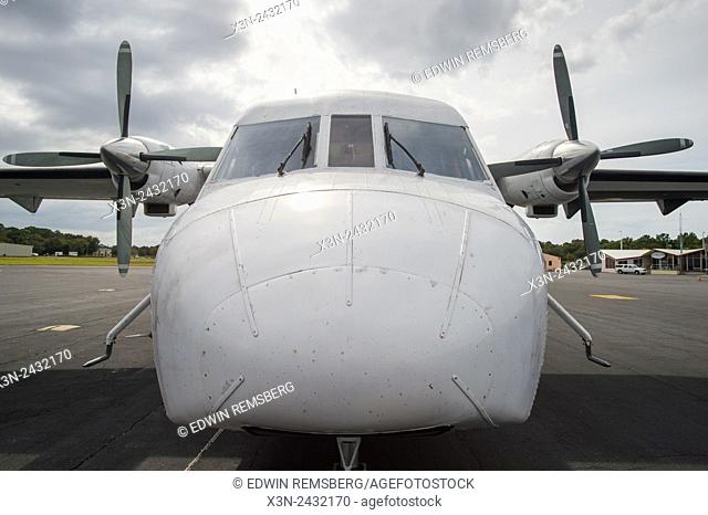 Large nose of airplane. USA