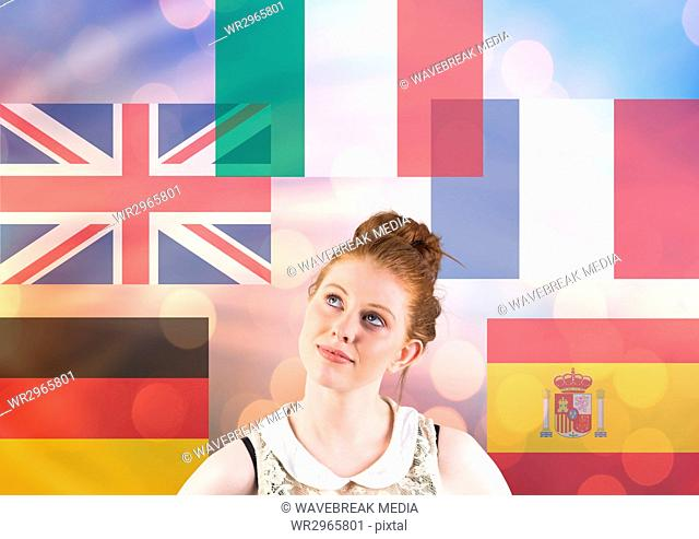 main language flags with opacity around young woman. Lights background