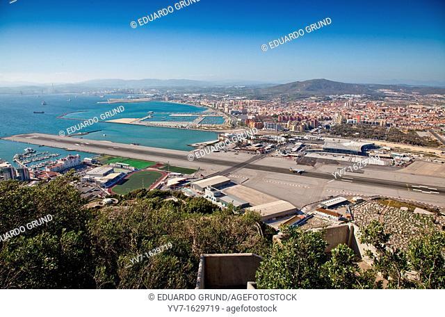 Airport Gibraltar and La Linea de la Concepcion, viewed from the rock  Gibraltar, Europe