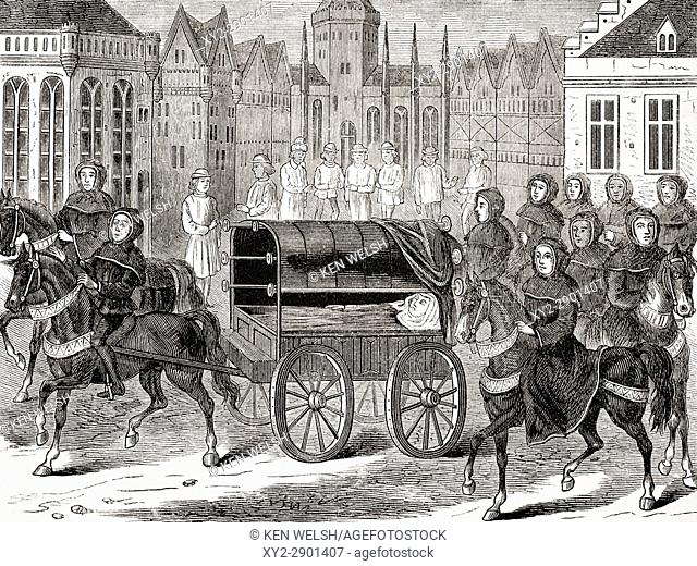 Funeral procession of King Richard II of England 1400. From The National and Domestic History of England by William Aubrey published London circa 1890