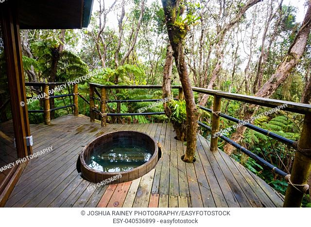 Outdoor cedar hot tub at a treehouse in the rainforest near Hilo and Volcano on the Big Island of Hawaii