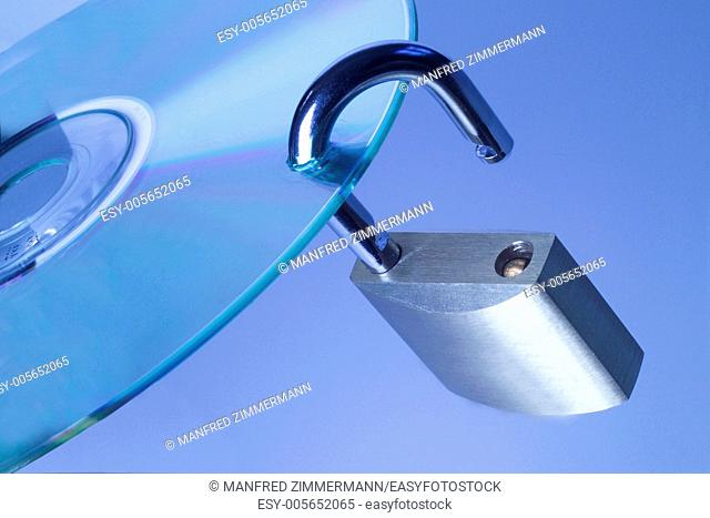 Open padlock on CD stands for Data Theft