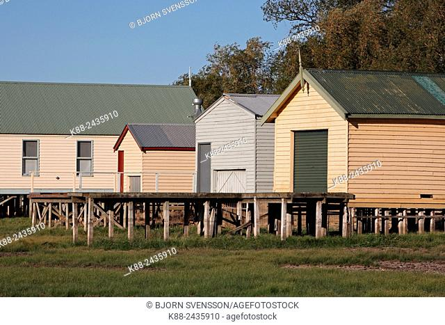 Boat houses on Lake Wendouree. The lake dried out completaly in 2006 due to a decade long drougth, but filled up again a few years later