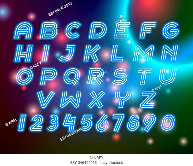 Line neon alphabet font letters set for logo, emblem or text accent on the dark space and stars light color background