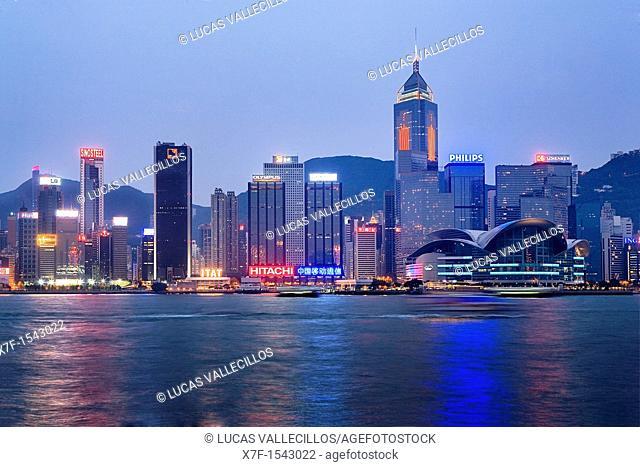 Hong Kong skyline from The Avenue of Stars,Hong Kong, China