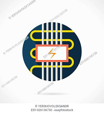 Cable electric floor heating symbol. Installing services for flooring, house renovation, seasonal improvement. Underfloor heated systems