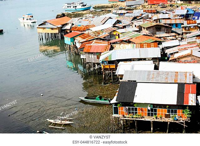 Everyday life of filipinos. Settlement on water in Cebu city Philippines