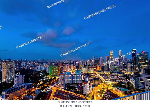 Financial district cityscape and chinatown at night, Singapore, South East Asia